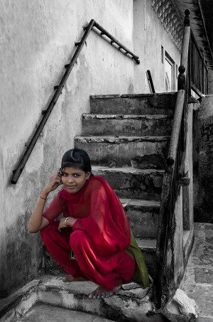 Girl on Steps